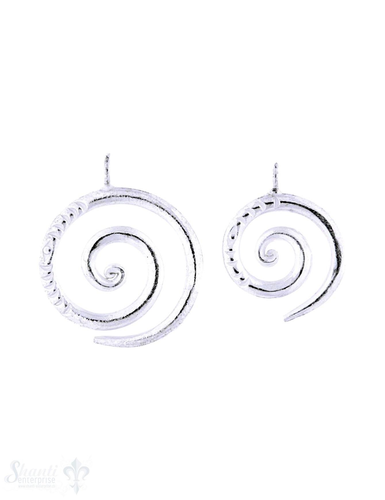 Anhänger Silber Spirale verziert Dicke 3 mm Öse fix