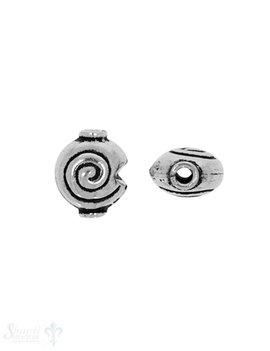 Zwischenteil Silber Schnecke 10x9 mm Loch 1.7 mm Pack = 6 Stk. ca. 4 gr.