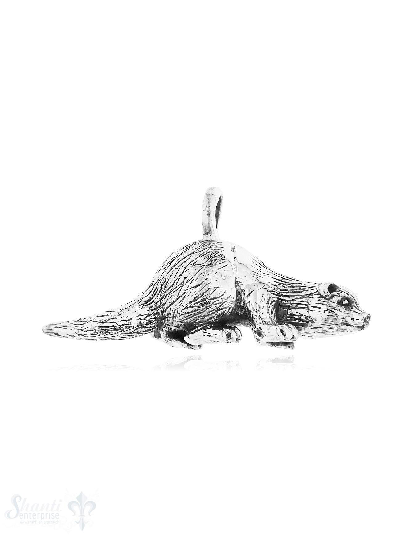 Anhänger Silber geschwärzt Otter 40x20 mm