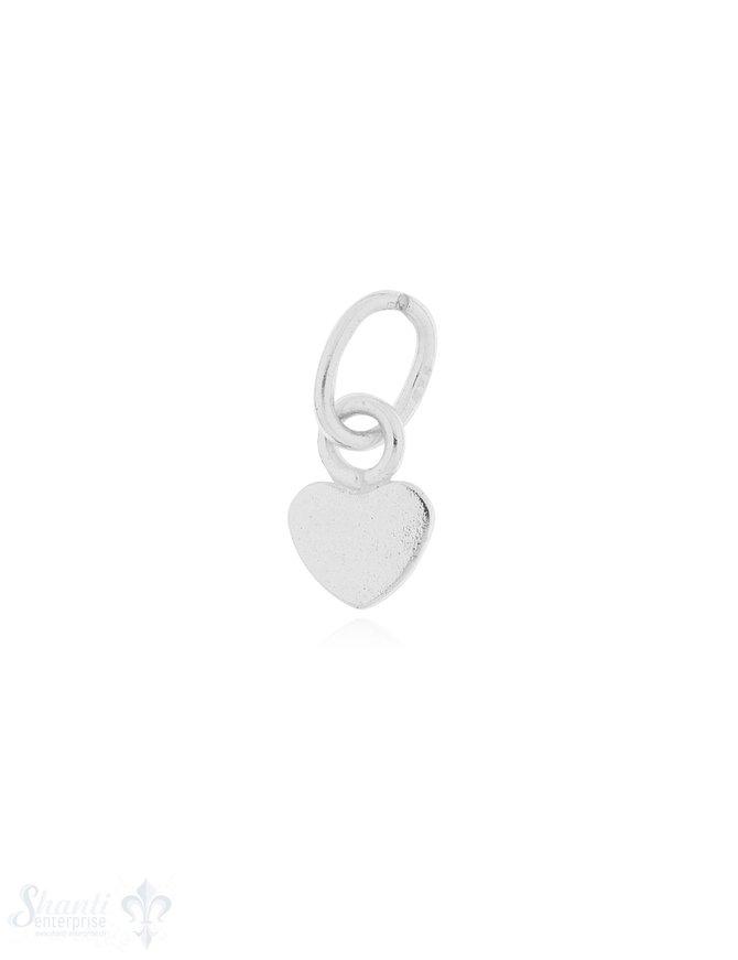 Anhänger Silber hell Herz flach poliert 7x5 mm 1 Pack = 3 Stk.