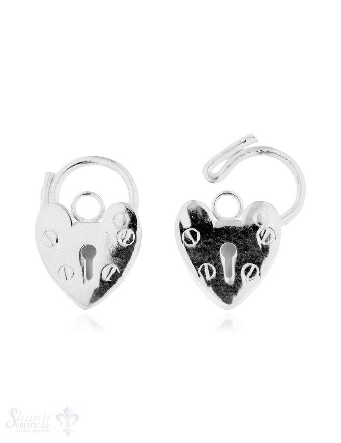 Anhänger Silber hell Herzschloss mit Bügel zum öff nen 14x10 mm Pack = 2 Stk.