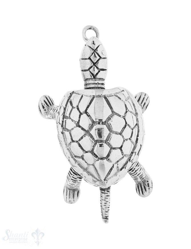 Anhänger Silber hell Schildkröte 42x30 mm beweglic h