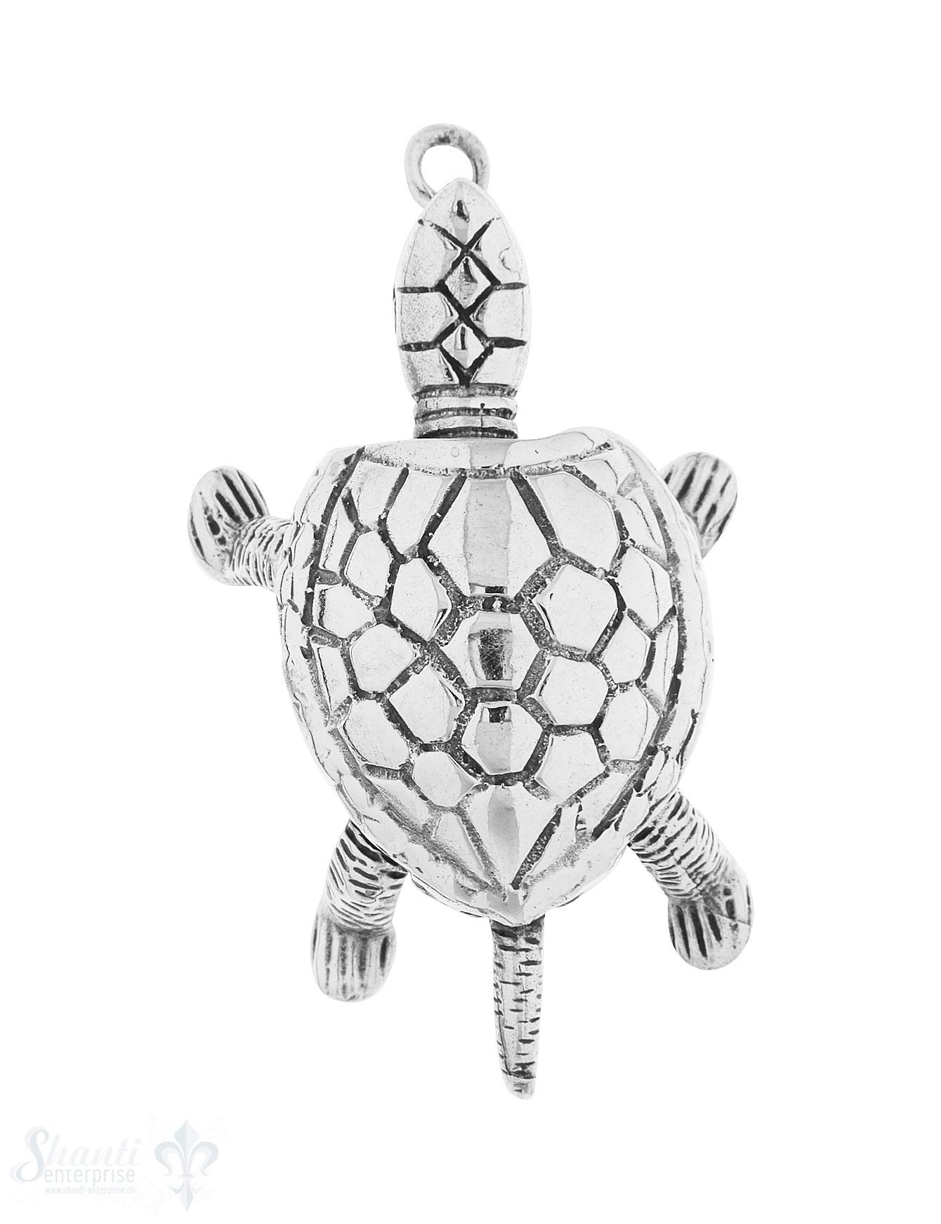 Anhänger Silber hell Schildkröte 42x30 mm beweglic