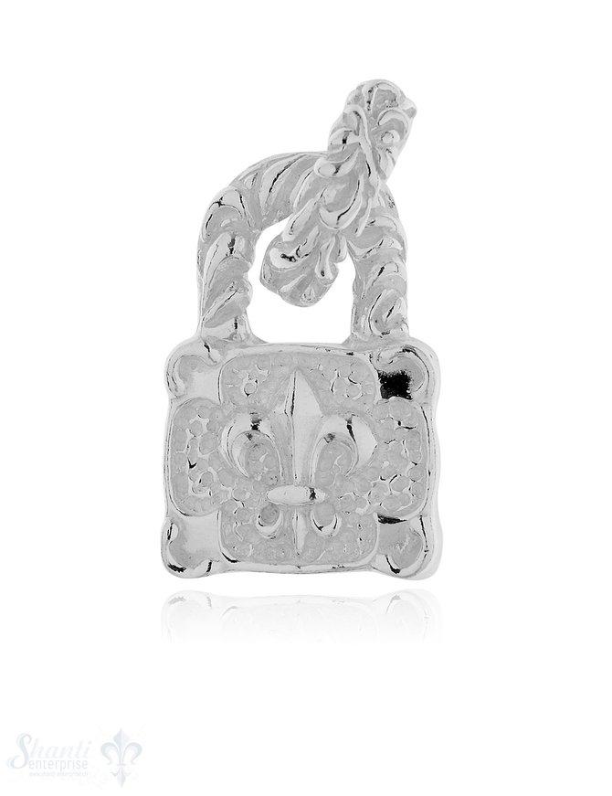 Anhänger Silber hell Schloss mit Lilie verziert 26 x17 mm