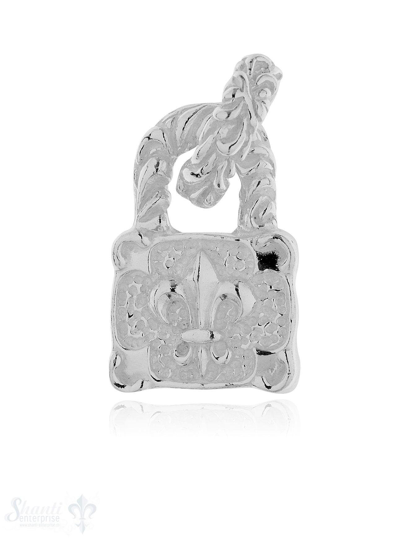 Anhänger Silber hell Schloss mit Lilie verziert 26