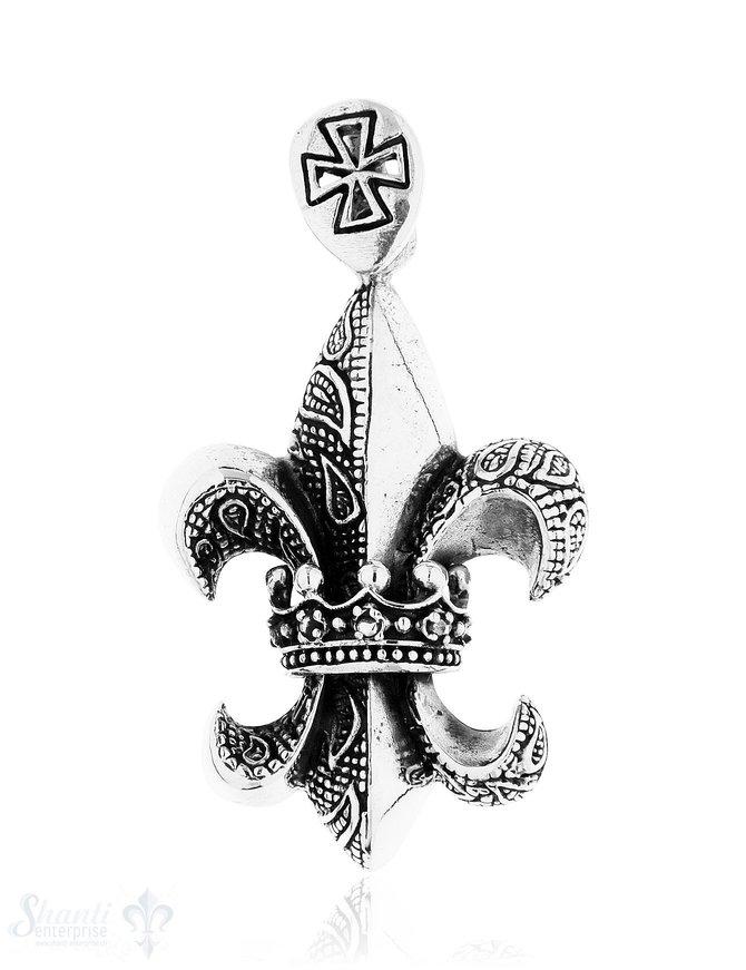 Anhänger Silber geschwärzt Lilie mit Krone in Mitt e 41x26 mm verziert mit Kreuz auf Oese