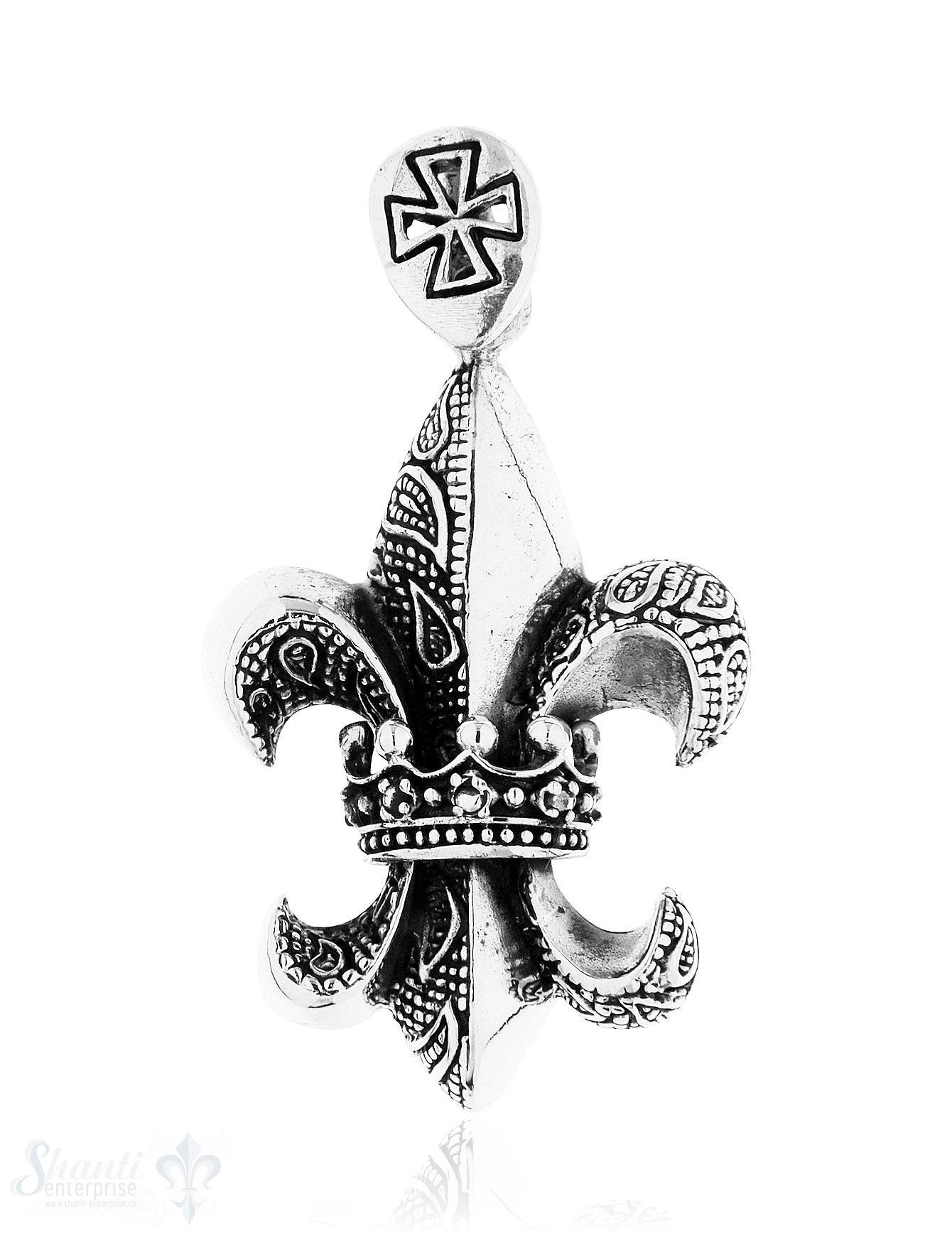 Anhänger Silber geschwärzt Lilie mit Krone in Mitt
