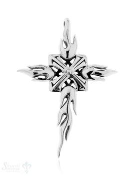 Anhänger Silber geschwärzt Kreuz mit Flammen 74x54