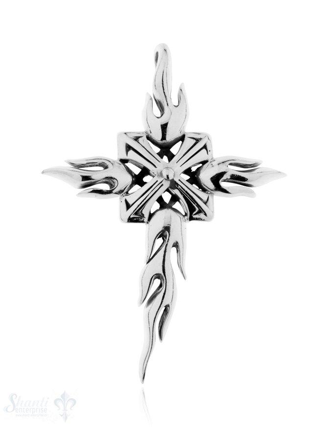 Anhänger Silber geschwärzt Kreuz mit Flammen 74x54 mm