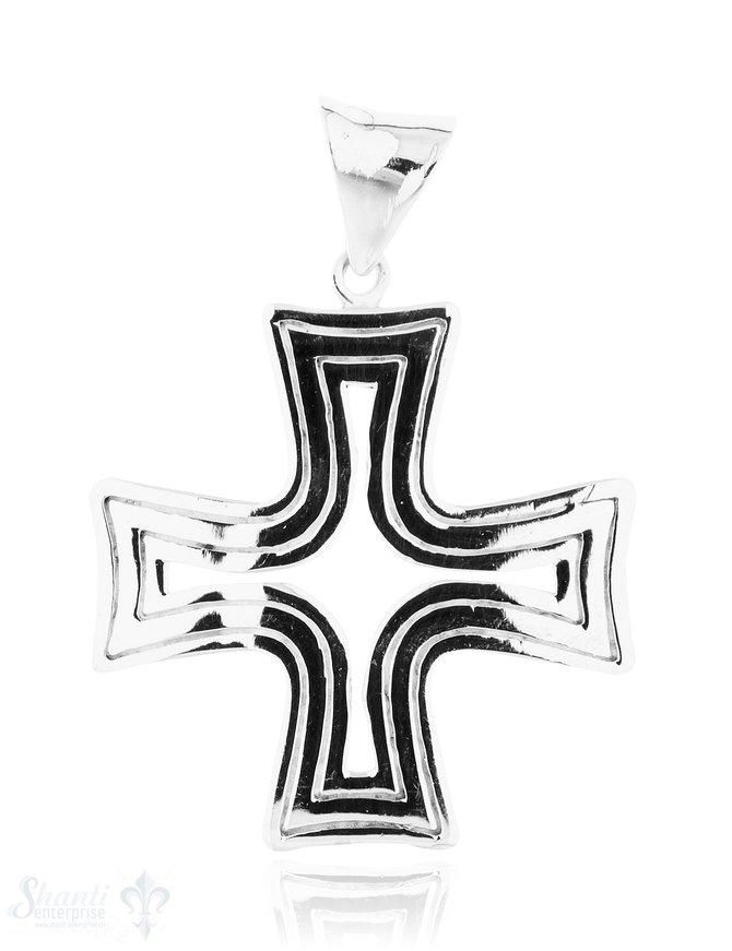 Anhänger Silber hell Kreuz 36x36 mm innen offen