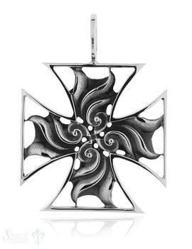 Anhänger Silber geschwärzt Kreuz verziert 49x49 mm