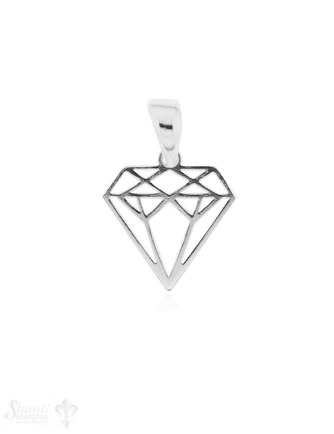 Anhänger Silber hell Diamant durchbrochen 12x12 mm 1 Pack = 2 Stk.