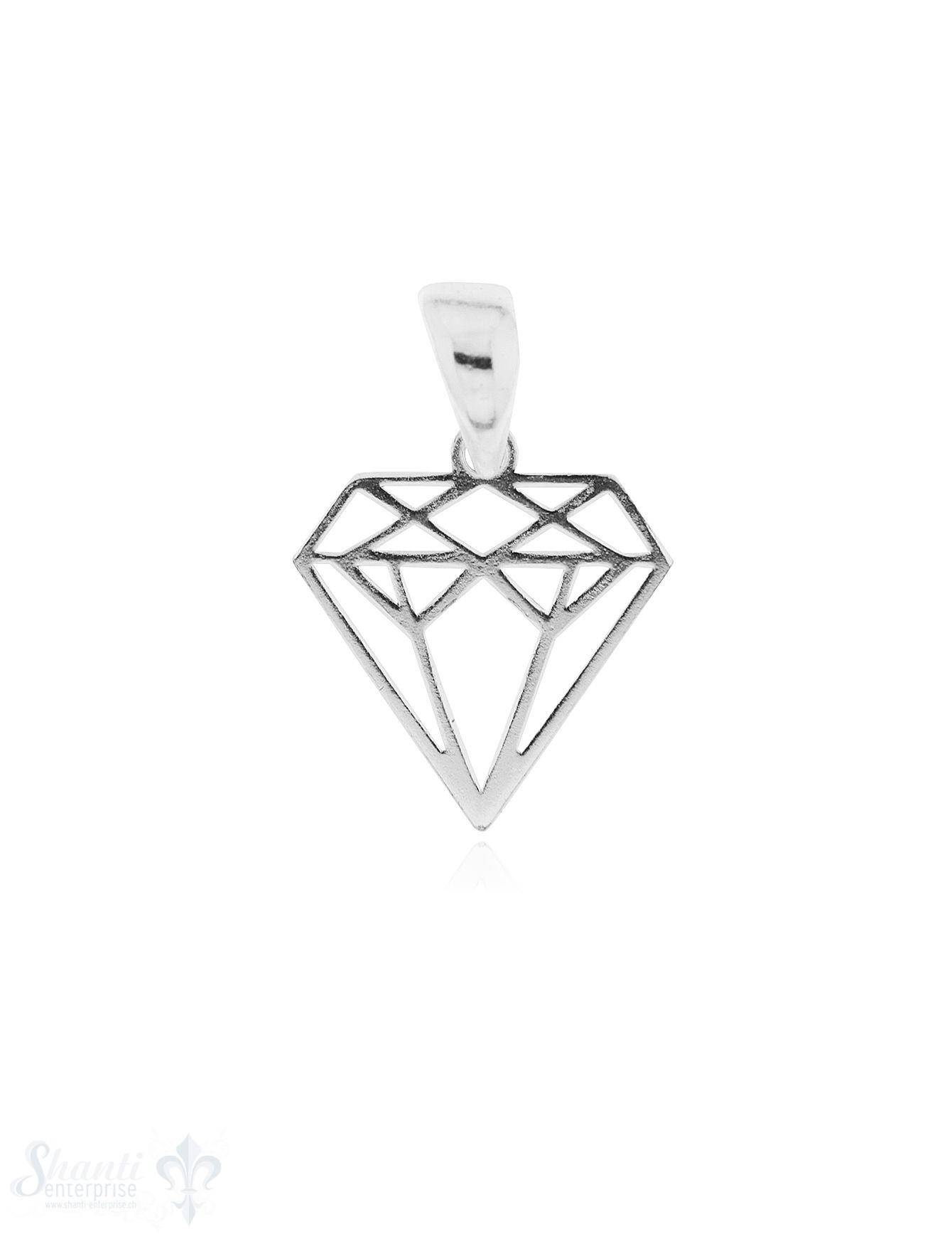 Anhänger Silber hell Diamant durchbrochen 12x12 mm