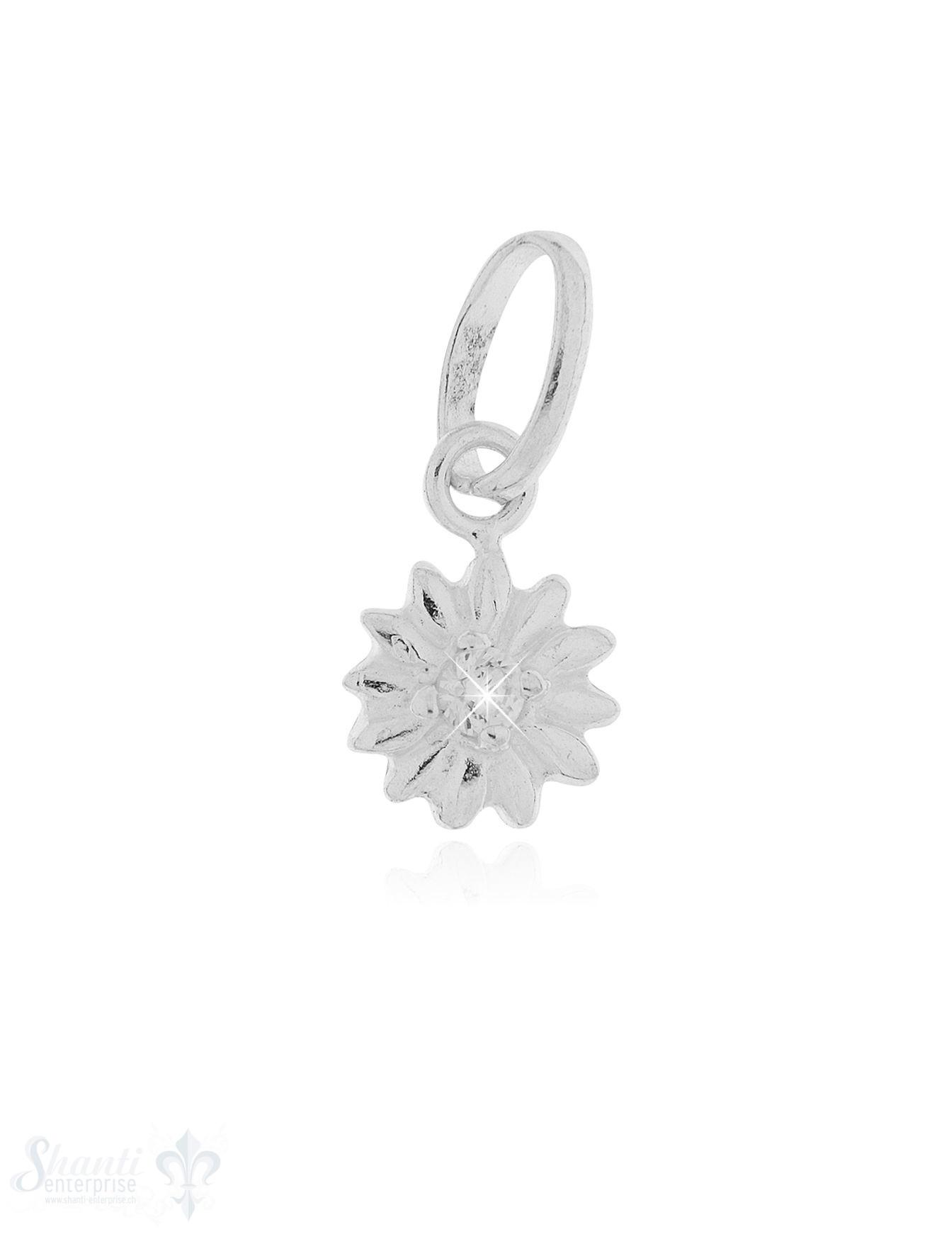 Anhänger Silber hell Blume mit Zirkaonia 7 mm Öse