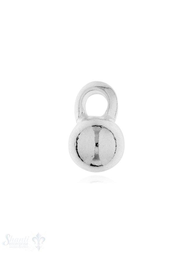 Anhänger Silber Kugel hell 8 mm mit Öse gross Pack = 4 Stk. ca. 4 gr.