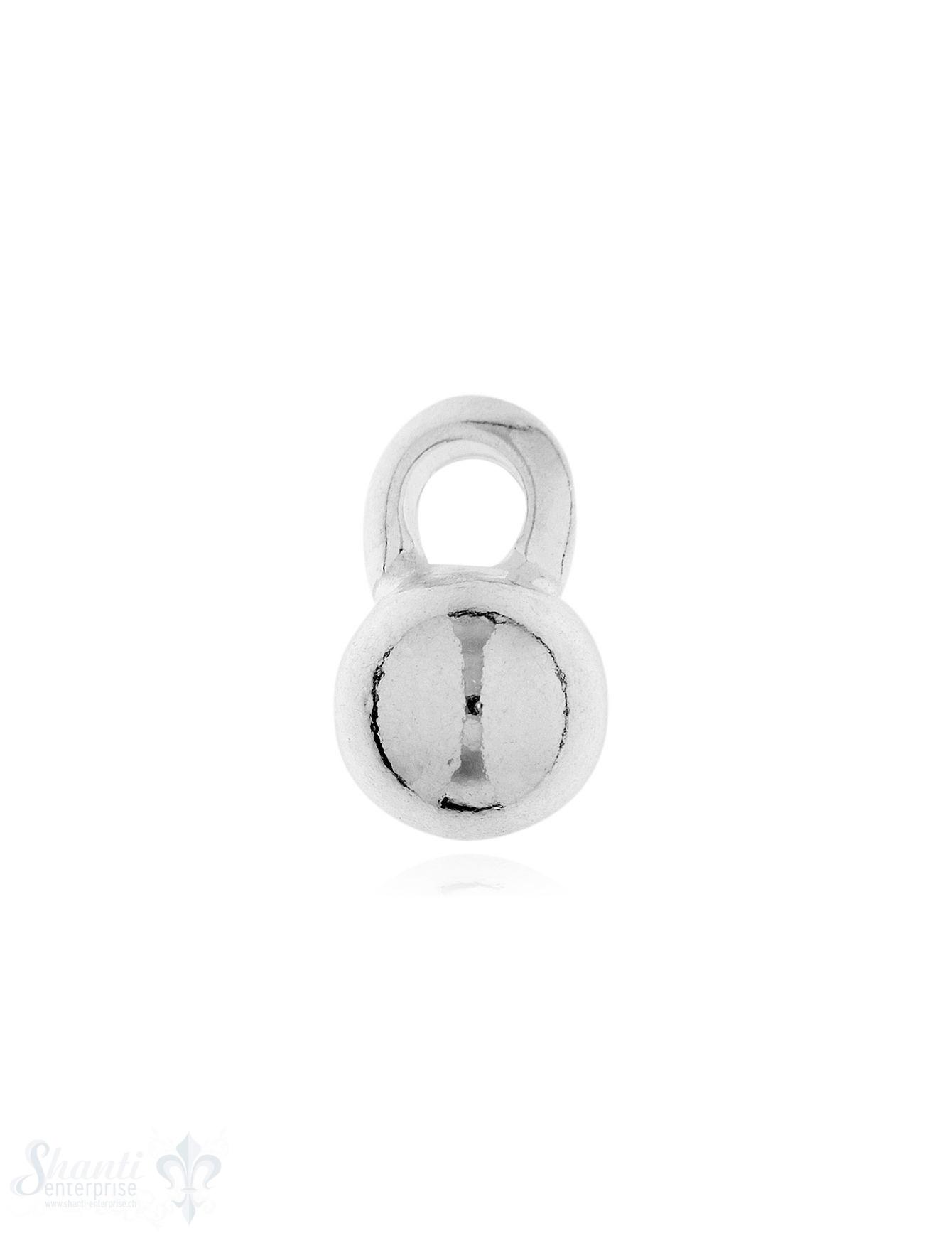 Anhänger Silber Kugel hell 8 mm mit Öse gross