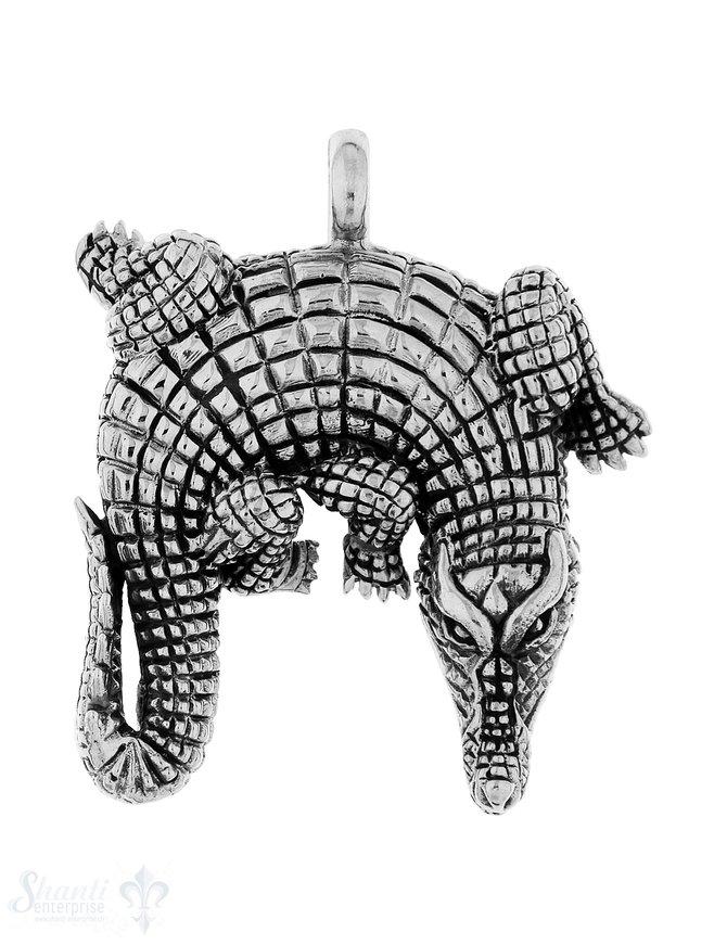 Anhänger Silber Krokodil gebogen 46x38 mm Öse fix