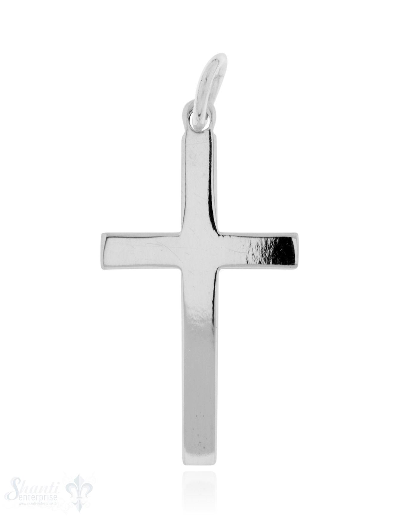 Anhänger Silber hell Kreuz glatt fein 29x16 mm