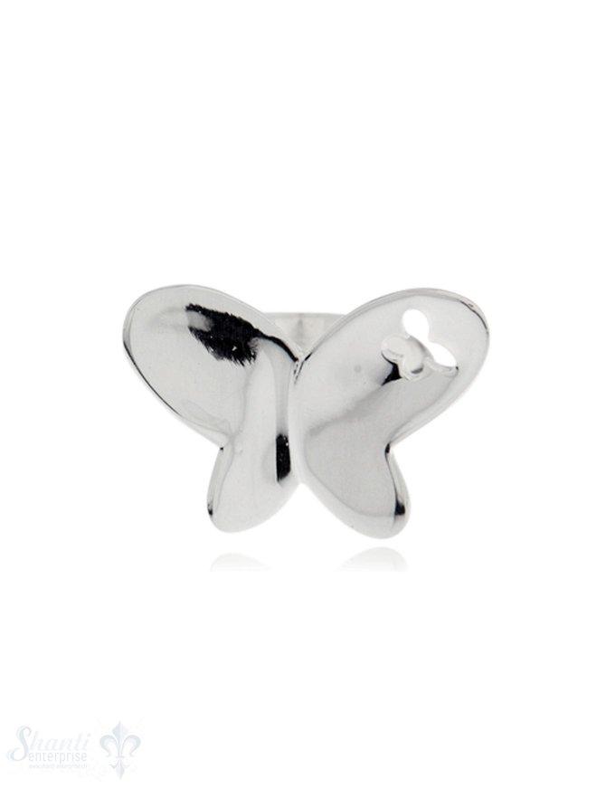 Silberring mit Schmetterling poliert: 25x20 mm