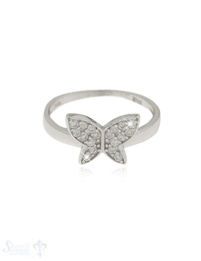 Silberring rhodiniert mit Swarovski-Schmetterling