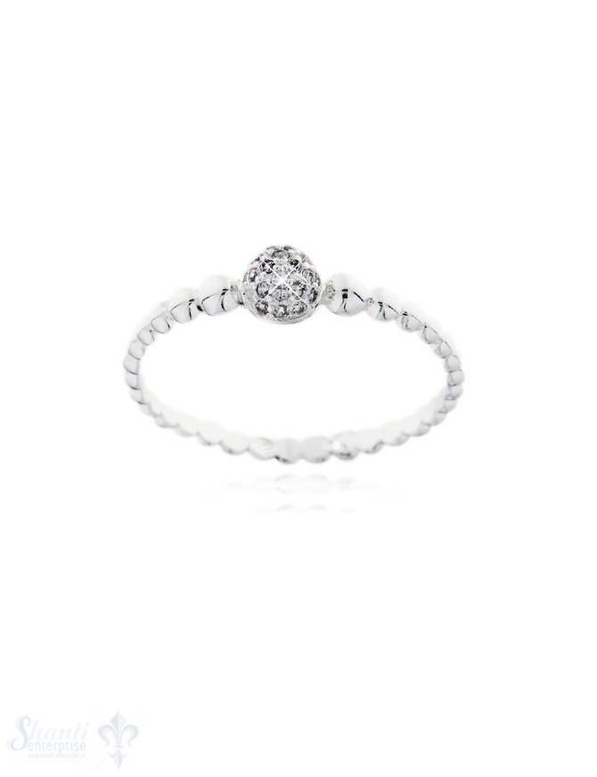 Silberring hell fein gerillt mit Halbkugel weisser Zirkonia Silber diamantisiert
