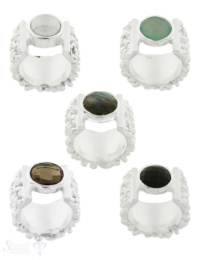 Silberring Nuggets breit mit freier Ringfassung:  18 mm breit