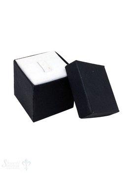 Schmuckbox schwarz, Karton mit Stoffauskleidung weiss 3,5x3,5x3,5 cm