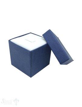 Schmuckbox blau, Karton mit Stoffauskleidung weiss 3,5x3,5x3,5 cm
