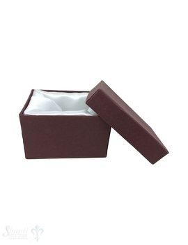Schmuckbox bordeaux, Kartion mit Stoffauskleidung weiss 7 x 5 x 4,5 cm