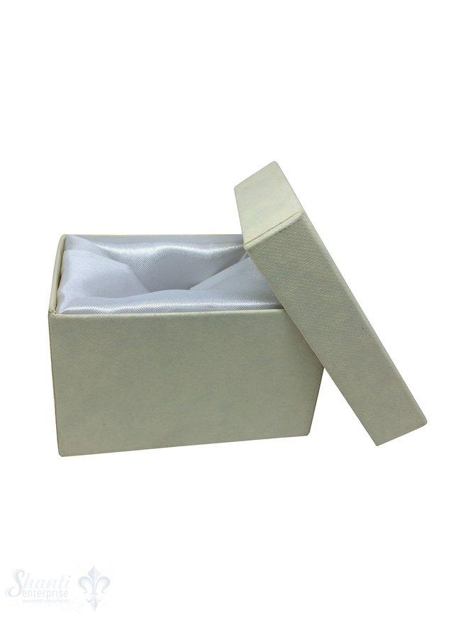 Schmuckbox ecru, Karton mit Stoffauskleidung weiss 7 x 5 x 4,5 cm