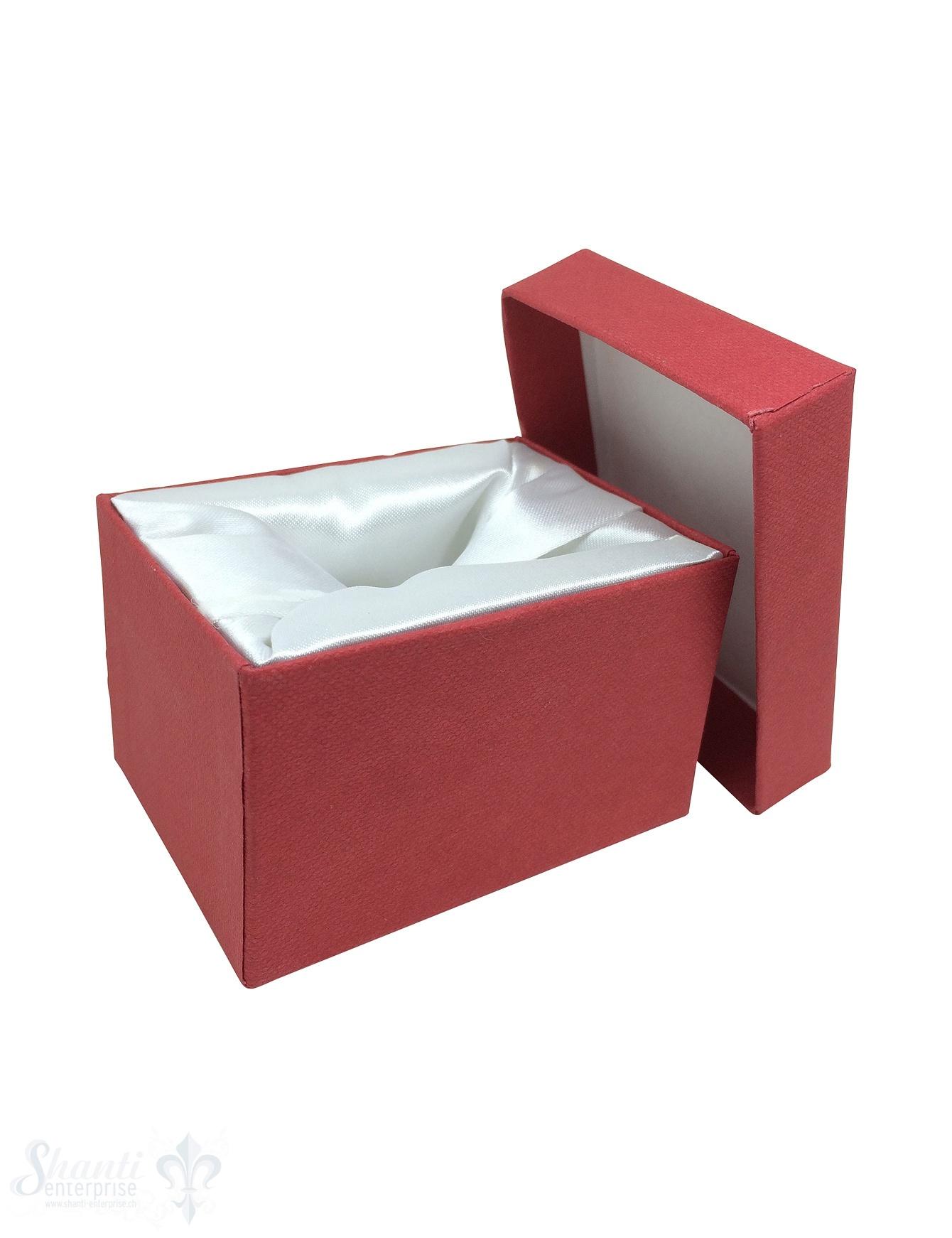 Schmuckbox rot, Karton mit Stoffauskleidung weiss 7 x 5 x 4,5 cm