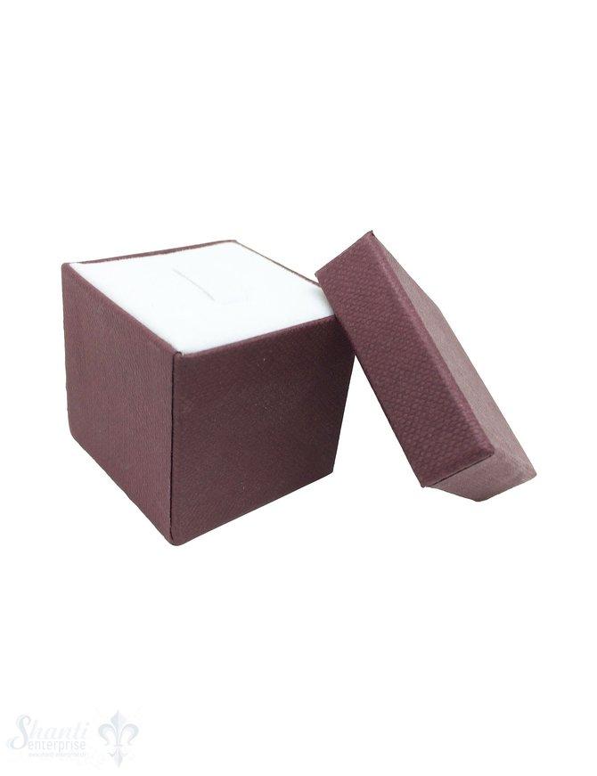 Schmuckbox bordeaux, Karton mit Stoffauskleidung weiss 3,5x3,5x3,5 cm