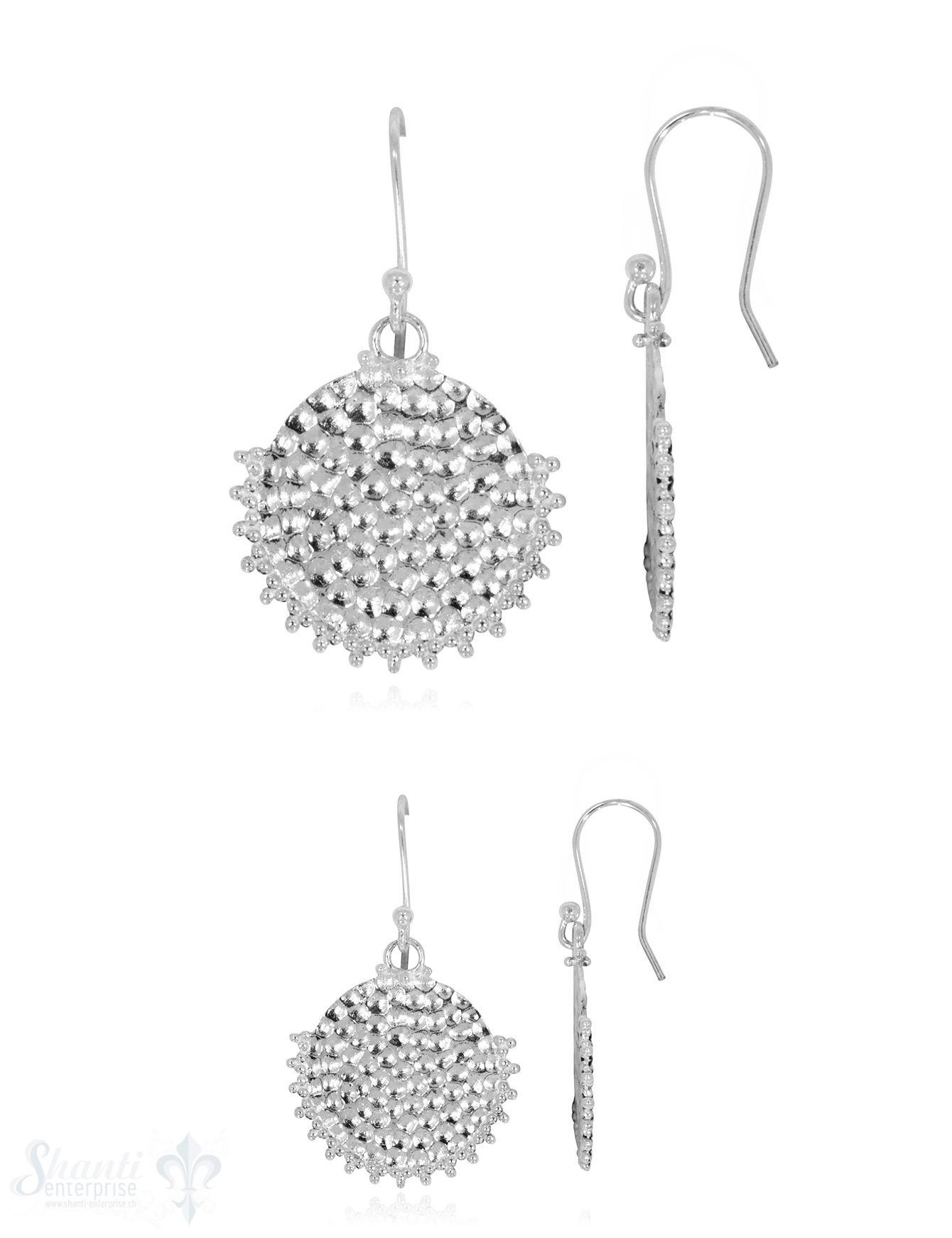 Ohrhänger Silber, hell, gehämmert unten verziert mit Bügel geschlossen