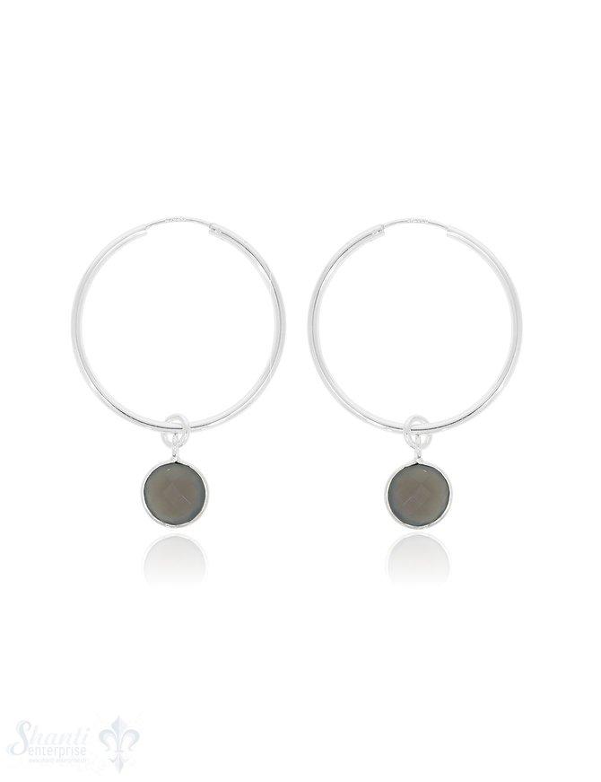 Ohrhänger Silber Creolen  Ø35 mm mit Stein-Anhänger facettiert Ø10 mm