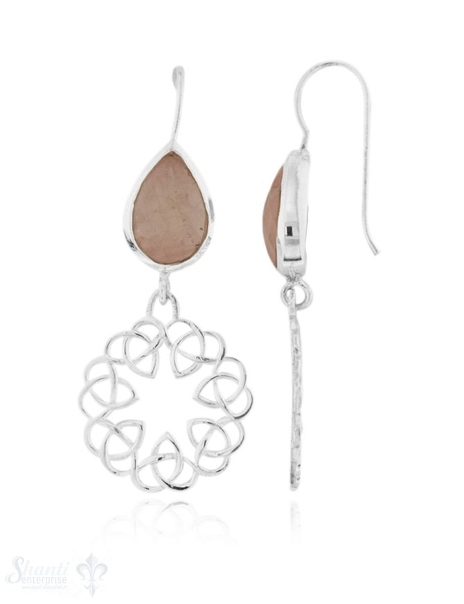 Ohrhänger Silber Tropfen facettiert mit keltischem Mandala 38x18 mm mit Bügel