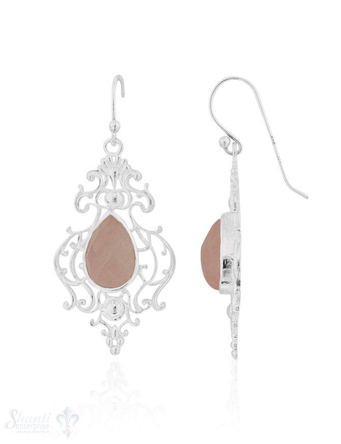 Ohrhänger Silber hell verziert mit Tropfen facettiert 13x9 mm mit Bügel
