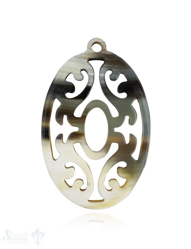 Horn Anhänger Amulett  Blume oval 60 mm x 38 mm durchbrochen mit Loch Farbabweichungen sind möglich