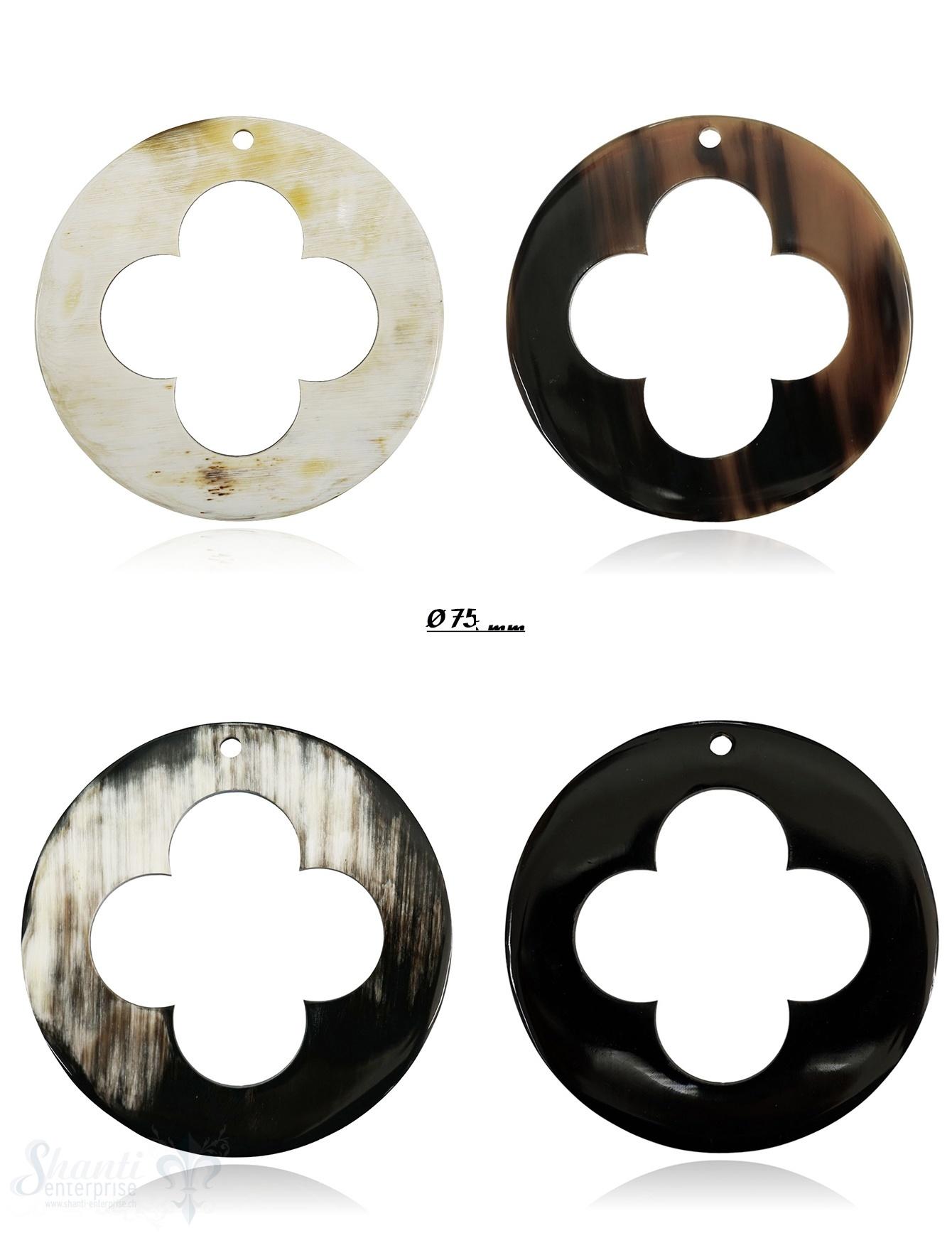 Horn Anhänger Glücks-Kleeblatt Ø 75 mm ausgestanzt mit Loch Farbabweichungen sind möglich