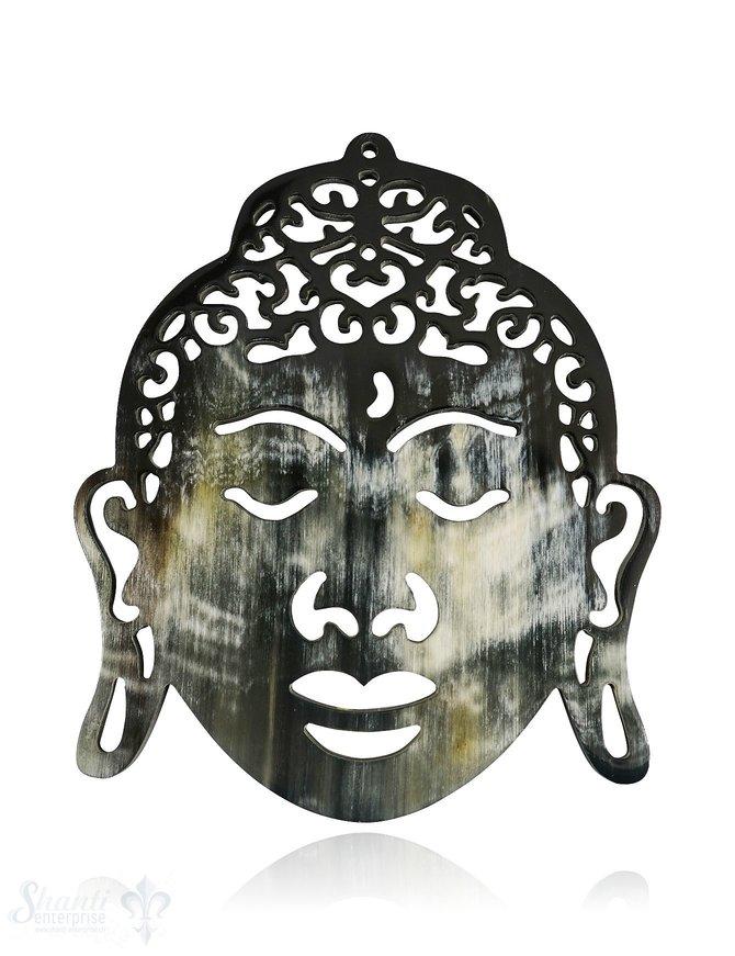 Horn Anhänger Buddha 85x70 mm durchbrochen mit Loch Farbabweichungen sind möglich