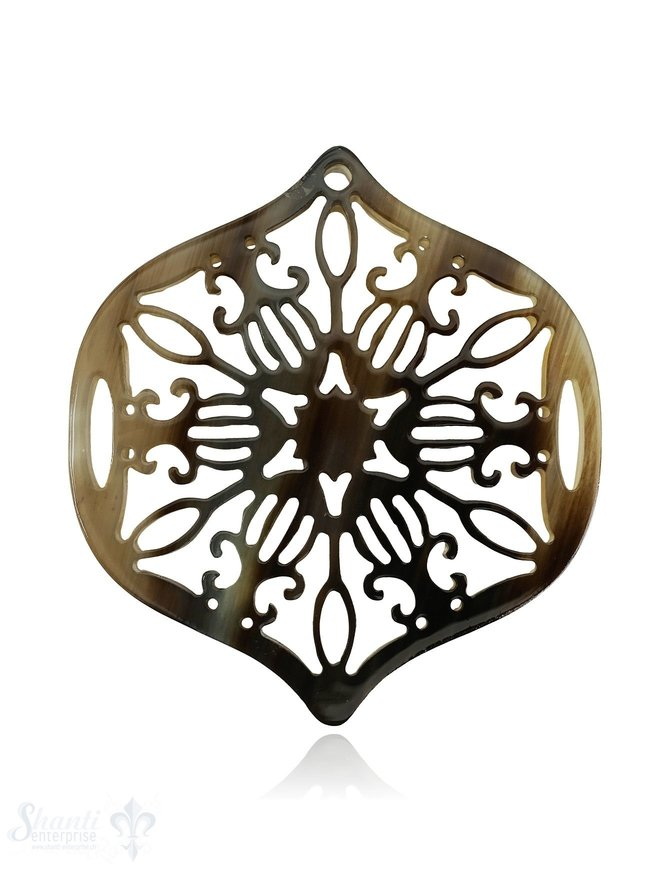 Horn Anhänger Amulett Blume in Spitz 60 mm x 50 mm durchbrochen mit Loch Farbabweichungen sind möglich
