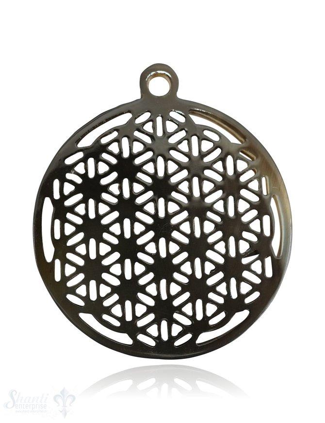 Horn Anhänger Amulett Blume des Lebens Ø 50 mm durchbrochen mit Loch Farbabweichungen sind möglich