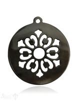 Horn Anhänger Amulett Blume durchbrochen mit Loch Farbabweichungen sind möglich