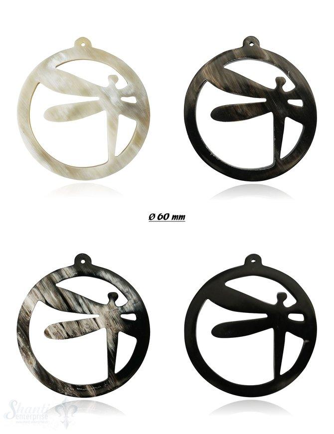 Anhänger Horn Libelle Ø 60 mm gestanzt mit Loch Farbabweichungen sind möglich