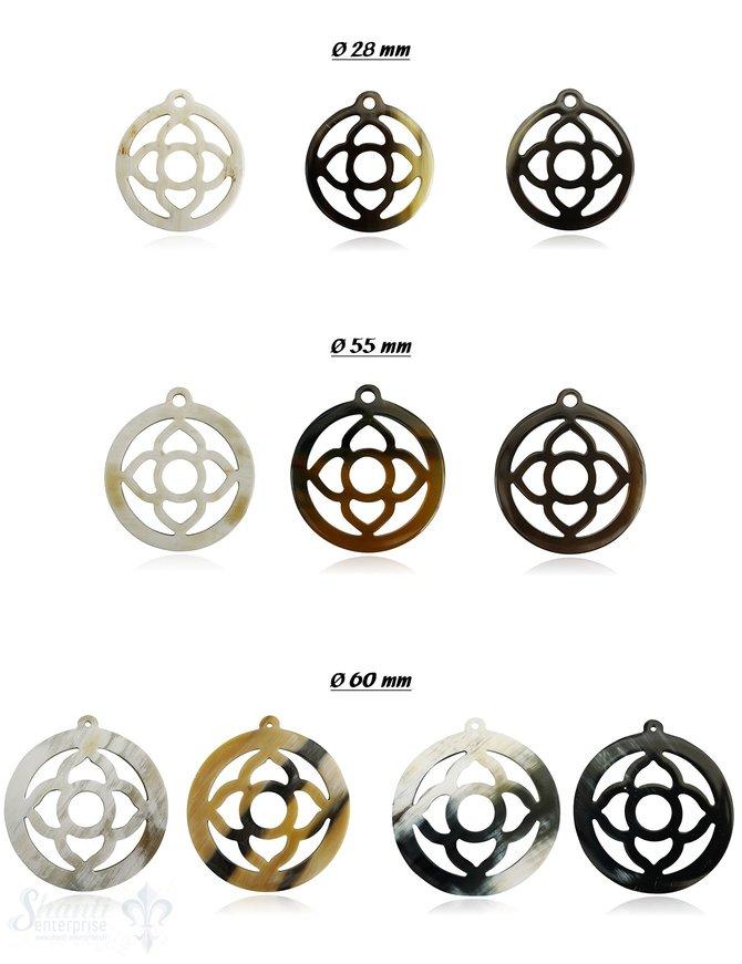 Horn Anhänger Amulett Blume 4-blättrig durchbrochen mit Loch Farbabweichungen sind möglich