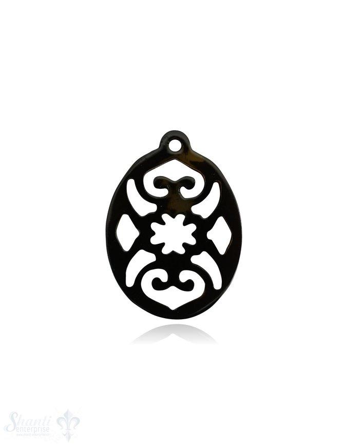 Horn Anhänger Amulett Blume oval durchbrochen mit Loch Farbabweichungen sind möglich