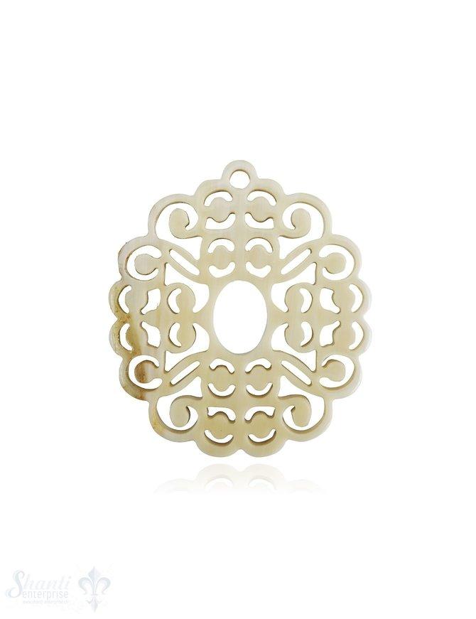 Horn Anhänger Amulett Blume oval gebuchtet durchbrochen mit Loch Farbabweichungen sind möglich