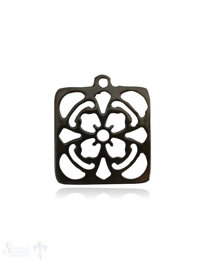 Horn Anhänger Mandala Quadrat 26 mm x 26 mm Blume durchbrochen mit Loch Farbabweichungen sind möglich
