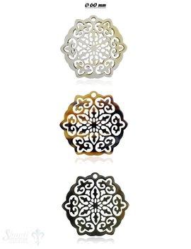 Horn Anhänger Amulett Blume gebuchtet Ø 60 mm , durchbrochen mit Loch Farbabweichungen sind möglich