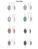 Ohrhänger Silber hell Navette facettiert 12 mm x 20 mm gepunktet mit Bügel