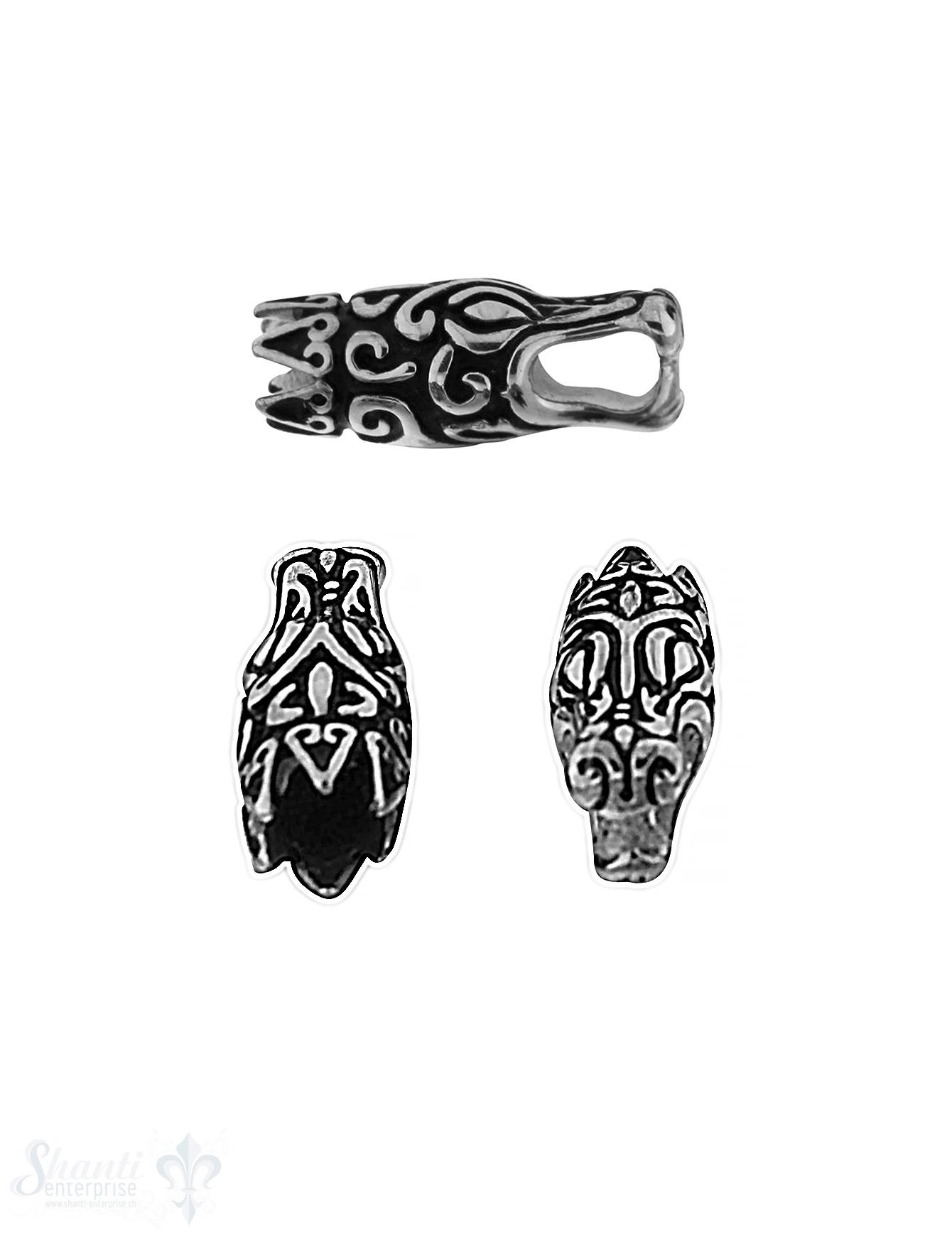 Stahlkappen für Leder: Drachenkopf stilisiert, ges schwärzt mit Zacken 27,5x11 mm,ID  6  mm